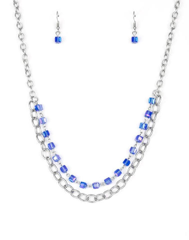 "Paparazzi Accessories - Paparazzi ""Block Party Princess"" Blue Cube Bead Silver Necklace and Earring Set - Necklaces"
