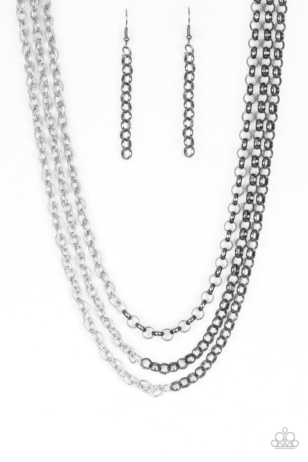 Paparazzi Accessories - Paparazzi | Metro Madness | Silver/Gunmetal Necklace and Earring Set - Necklaces