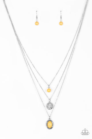 Southern Roots - Yellow Paparazzi Necklace and Earring Set