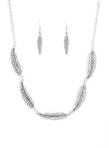 Paparazzi Accessories - Paparazzi Light Flight Silver Feather Collar Necklace and Earring Set - Necklaces