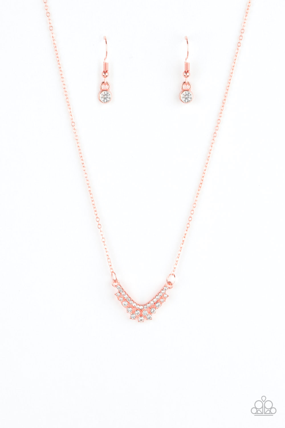 "Paparazzi Accessories - Paparazzi ""Classically Classic"" Copper Rhinestone Necklace and Earring Set - Necklaces"