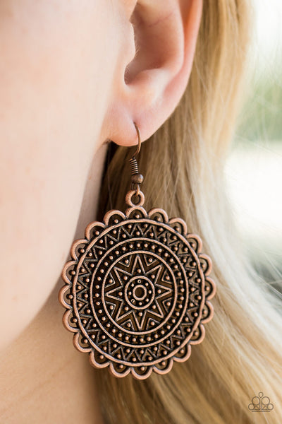 "Paparazzi Accessories - Paparazzi Earring - ""Be Sol Bold"" - Copper Indigenous Inspired Earrings - Earrings"