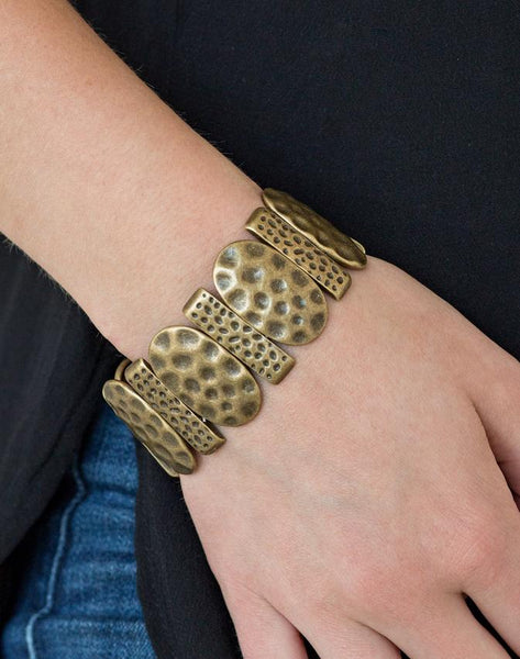 "Paparazzi Accessories - Paparazzi ""Cave Cache"" Brass Hammered Plate Stretchy Bracelets - Bracelets"
