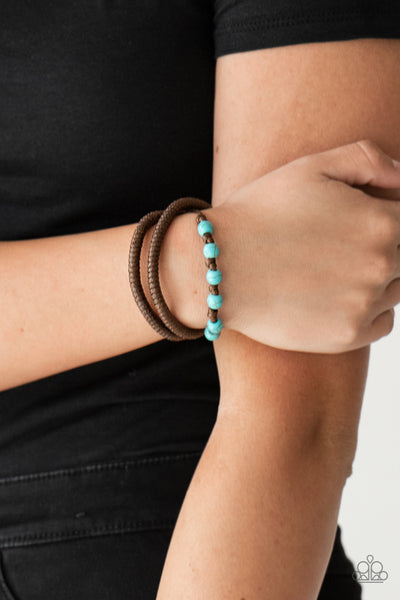 "Paparazzi Accessories - Paparazzi ""Desert Quest"" Brown Cord Blue Bead Bracelet - Bracelets"
