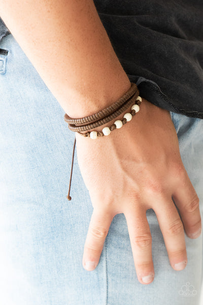 "Paparazzi Accessories - Paparazzi ""Desert Quest"" Brown Cord White Bead Bracelet - Bracelets"