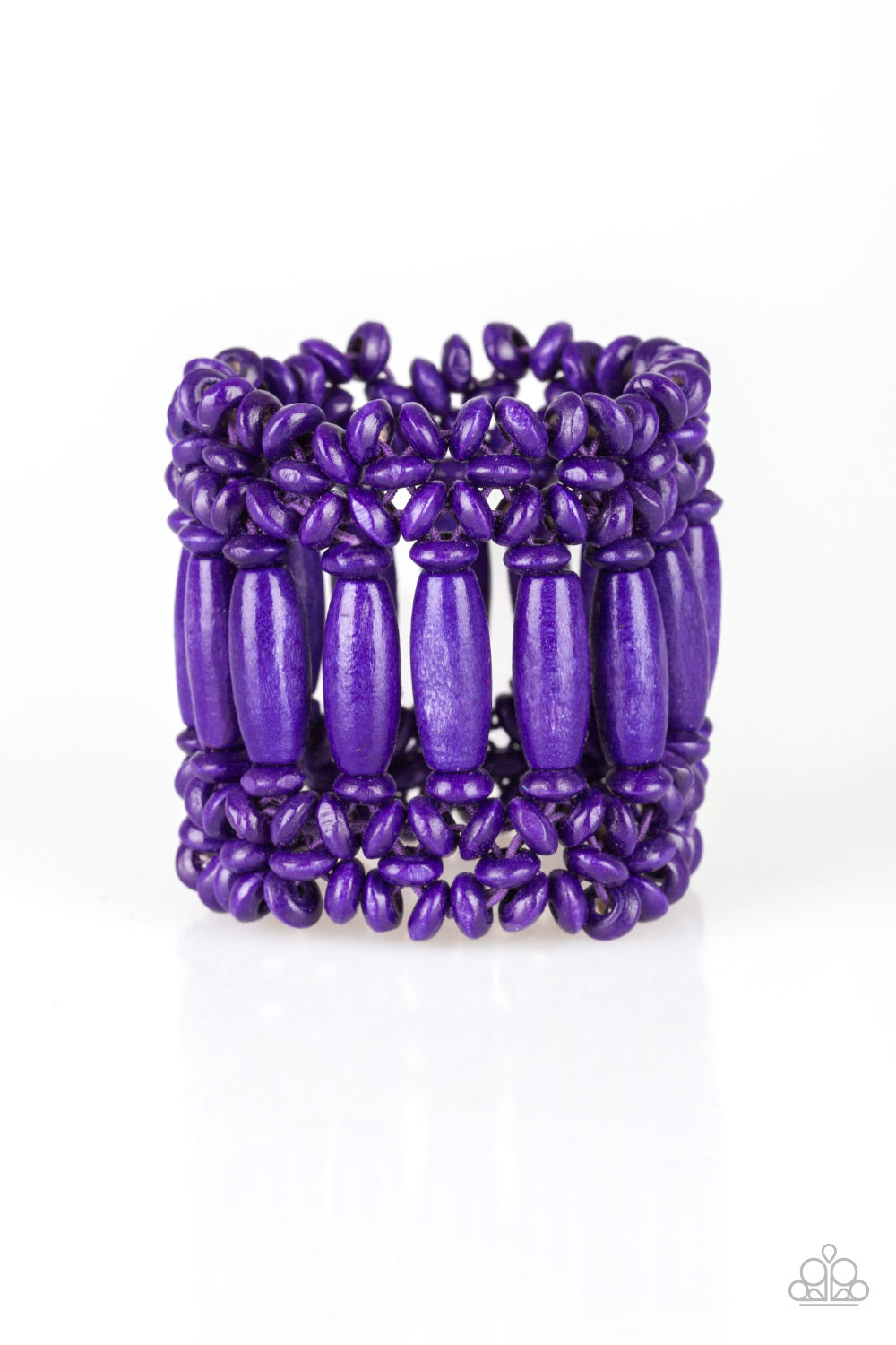 Paparazzi Accessories - Barbados Beach Club | Purple Wood Bead | Paparazzi Bracelet - Bracelets