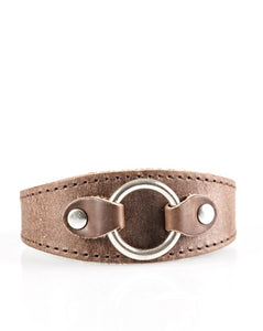 "Paparazzi Accessories - Paparazzi ""Western Wrangler"" Brown Leather Urban Wrist Band - Bracelets"