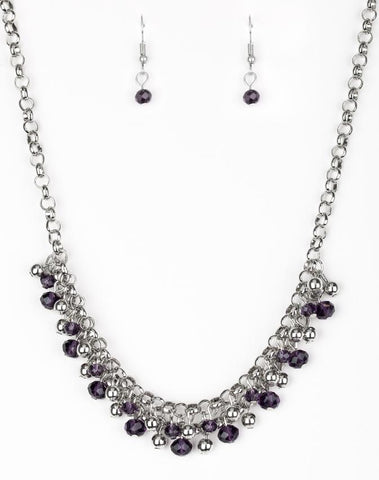 Trust Fund Baby - Purple Necklace and Earring Set