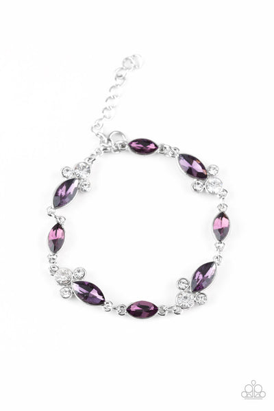 "Paparazzi Accessories - Paparazzi ""At Any Cost"" Purple and White Rhinestone Bracelet - Bracelets"