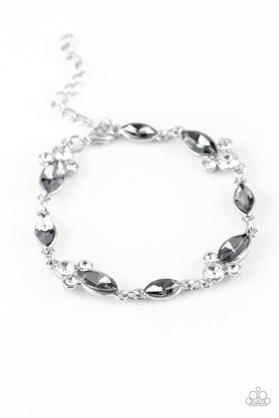"Paparazzi Accessories - Paparazzi ""At Any Cost"" Silver and White Rhinestone Bracelet - Bracelets"
