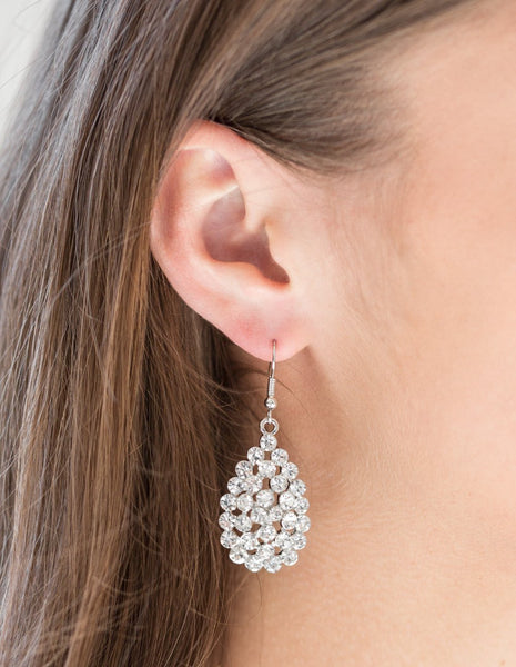 Paparazzi Accessories - Paparazzi - Sparkling Sparkle-naire - White Rhinestone Teardrop Earring - Earrings