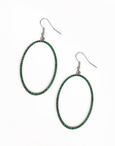 Paparazzi Accessories - Dazzle On Demand | Green | Paparazzi Rhinestone Hoop Earrings - Earrings