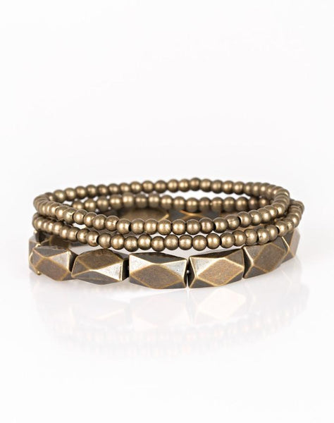 Paparazzi Accessories - Metal Movement | Brass Bead | Paparazzi Bracelet - Bracelets