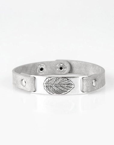 "Paparazzi Accessories - ""Take The LEAF"" - Silver Leaf Urban Paparazzi Bracelet - Bracelets"
