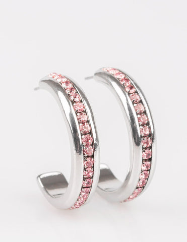 "Paparazzi Accessories - Paparazzi ""5th Avenue Fashionista"" Pink Rhinestone Hoop Earrings - Earrings"