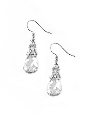 Paparazzi Accessories - 5th Avenue Fireworks | White Rhinestone | Paparazzi Earring - Earrings