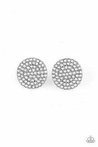 Paparazzi Accessories - Paparazzi | Radiant Ripples | White Rhinestone Earring - Earrings