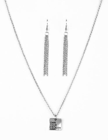 "Paparazzi Accessories - Paparazzi ""Own Your Journey"" Antiqued Stamped Silver Necklace and Earring Set - Necklaces"