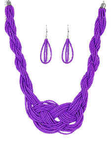 "Paparazzi Accessories - Paparazzi ""Paparazzi ""A Standing Ovation"" Purple Braid Seed Bead Necklace and Earring Set - Necklaces"