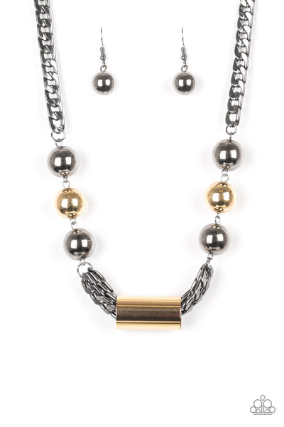 "Paparazzi Accessories - Paparazzi  ""All About Attitude "" Black Gunmetal Bead Necklace and Earring Set - Necklaces"