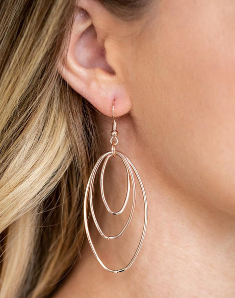 "Paparazzi Accessories - Paparazzi ""All OVAL The Place"" - Rose Gold - Earrings"