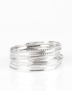 Paparazzi Accessories - Am I BRIGHT? - Silver textured Paparazzi Bangle Set - Bracelets