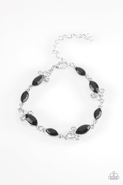 "Paparazzi Accessories - Paparazzi ""At Any Cost"" Black and White Rhinestone Bracelet - Bracelets"