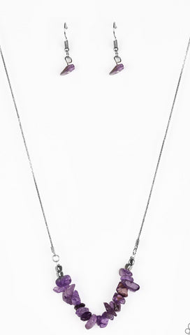 Paparazzi Accessories - Back To Nature Purple Necklace and Earring Set - Necklaces