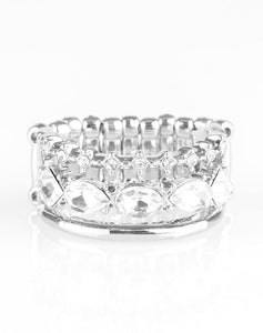 Paparazzi Accessories - Backstage Sparkle - White Ring - Rings