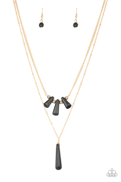 Paparazzi Accessories - Basic Groundwork | Gold Black Teardrop Stone | Paparazzi Necklace and Earring Set - Necklaces