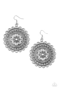 "Paparazzi Accessories - Paparazzi Earring - ""Be Sol Bold"" - Silver Indigenous Inspired Earrings - Earrings"
