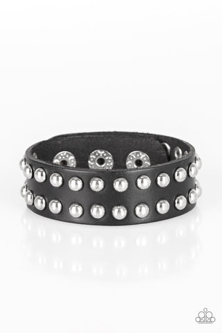 "Paparazzi Accessories - Paparazzi ""Biker Bold"" Black Silver Studded Leather Urban Wrap Bracelet - Bracelets"