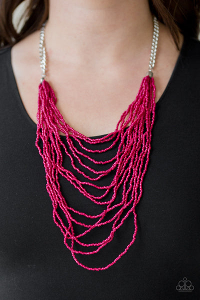 Paparazzi Accessories - Bora Bombora | Pink Seed Bead | Paparazzi Necklace and Earring Set - Necklaces