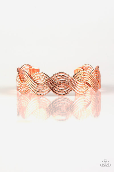 "Paparazzi Accessories - Paparazzi Bracelet -"" Braided Brilliance"" - Rose Gold - Bracelets"
