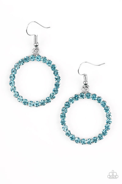 Paparazzi Accessories - Bubblicious | Blue Rhinestone | Paparazzi Hoop Earring - Earrings