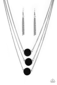 Paparazzi Accessories - Paparazzi | CEO of Chic | Flat Black Stone Necklace and Earring Set - Necklaces