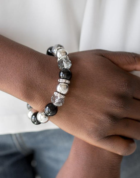 Paparazzi Accessories - Camera Chic | Black Silver Rhinestone | Paparazzi Bracelet - Bracelets