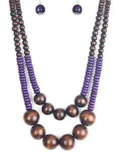 BeeDazzled Jewel Boutique Paparazzi  - Paparazzi - Cancun Cast Away - Purple and Brown Wooden Necklace and Earring Set -