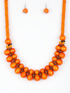 Paparazzi Accessories - Caribbean Cover Girl - Orange Bead Paparazzi Necklace and Earring Set - Necklaces