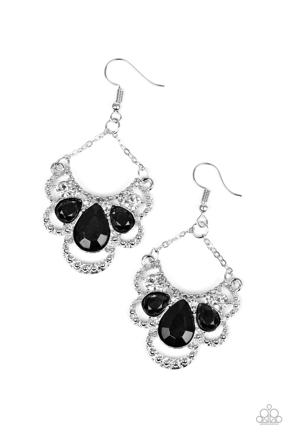 Paparazzi Accessories - Paparazzi Caribbean Royalty Black Teardrop Earring - Earrings