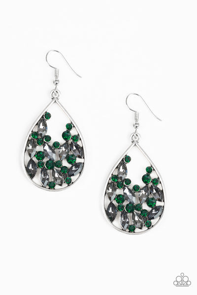"Paparazzi Accessories - Paparazzi ""Cash or Crystal?"" - Green - Earrings"