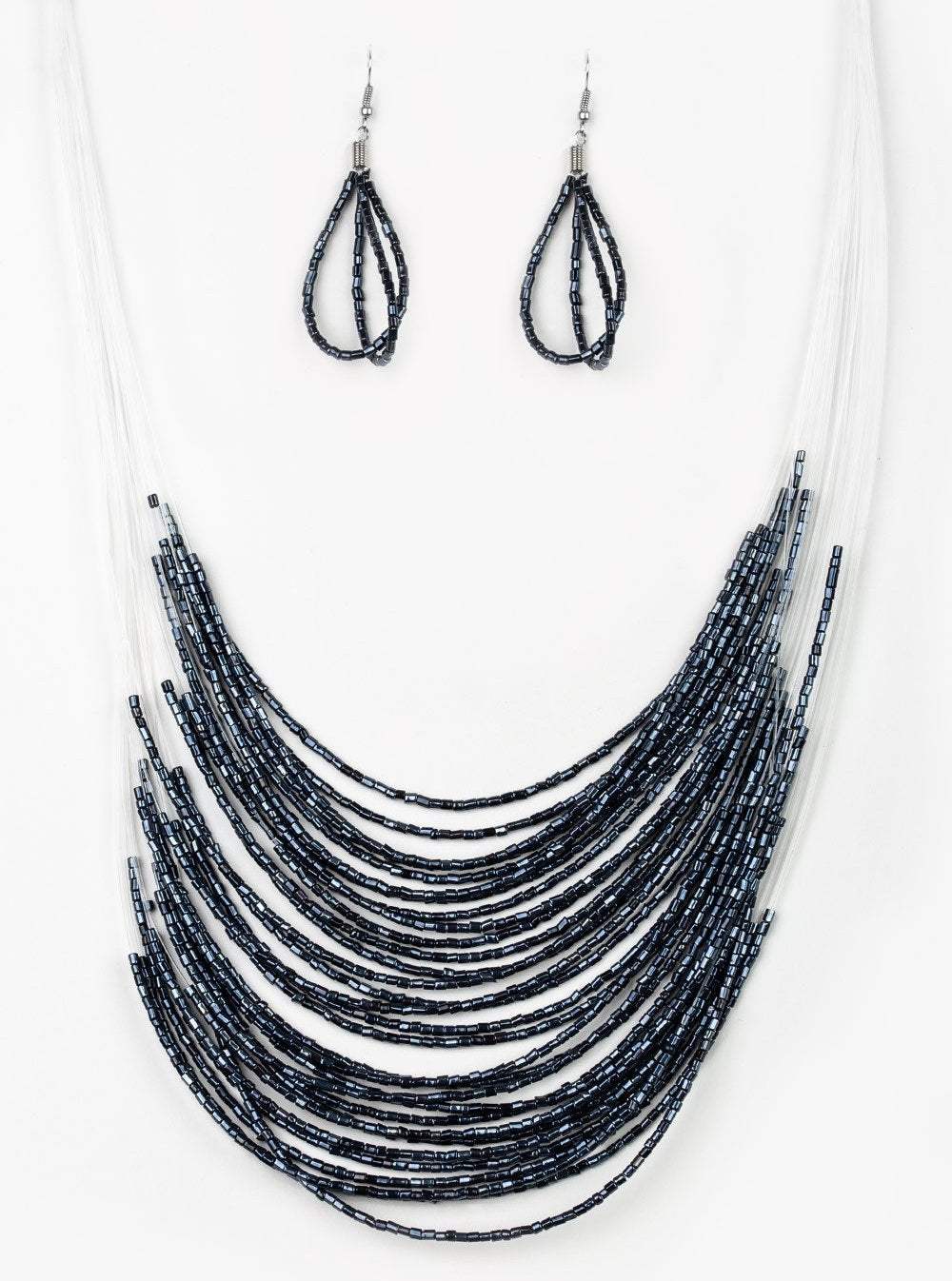 Paparazzi Accessories - Catwalk Queen - Paparazzi Blue Metallic Seed Bead Necklace and Earring Set - Necklaces