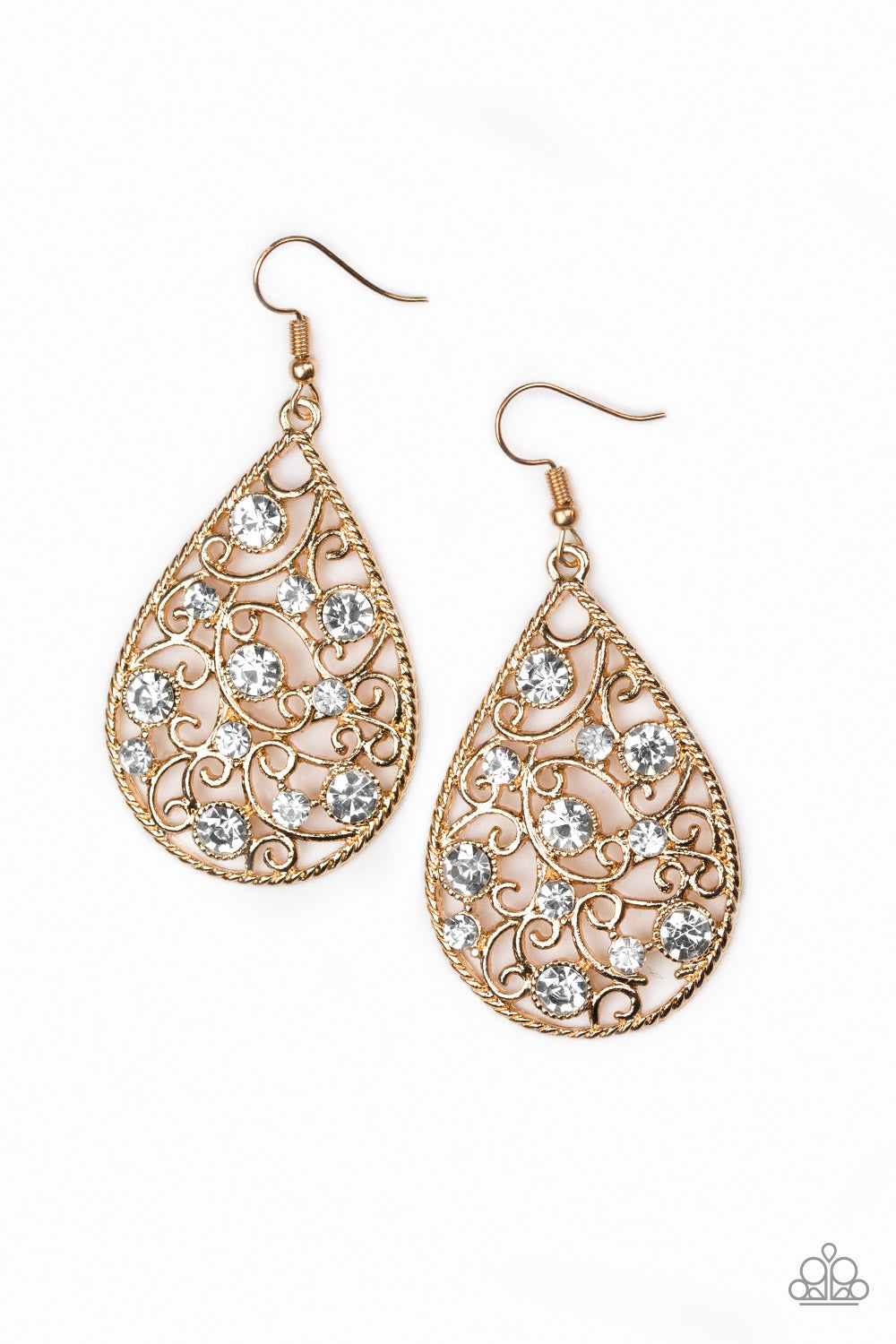 Paparazzi Accessories - Paparazzi - Certainly Courtier Gold- White Rhinestone Earring - Earrings