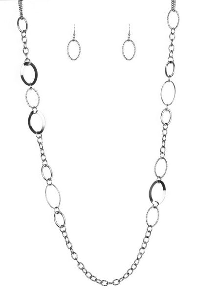 "Paparazzi Accessories - Paparazzi ""Chain Cadence"" - Black Necklace - Necklaces"