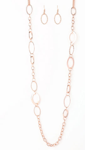 "Paparazzi Accessories - Paparazzi ""Chain Cadence"" - Rose Gold - Necklaces"