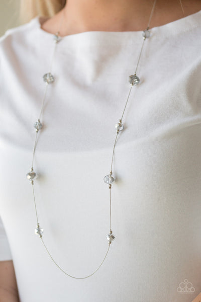 Paparazzi Accessories - Champagne On The Rocks | Silver Crystal Bead | Paparazzi Necklace and Earring Set - Necklaces