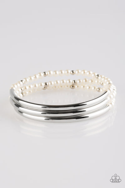 "Paparazzi Accessories - Paparazzi Bracelet ""City Pretty"" White - Bracelets"