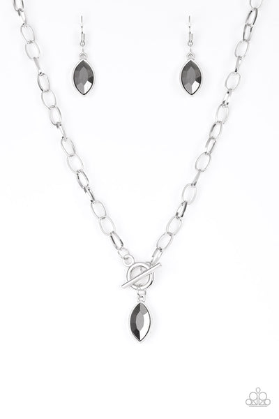 Paparazzi | Club Sparkle | Silver Hematite Rhinestone Necklace and Earring Set