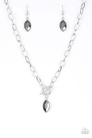 Paparazzi Accessories - Paparazzi | Club Sparkle | Silver Hematite Rhinestone Necklace and Earring Set - Necklaces