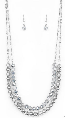 Paparazzi Accessories - Color Of The Day - Silver Necklace and Earring Set - Necklaces